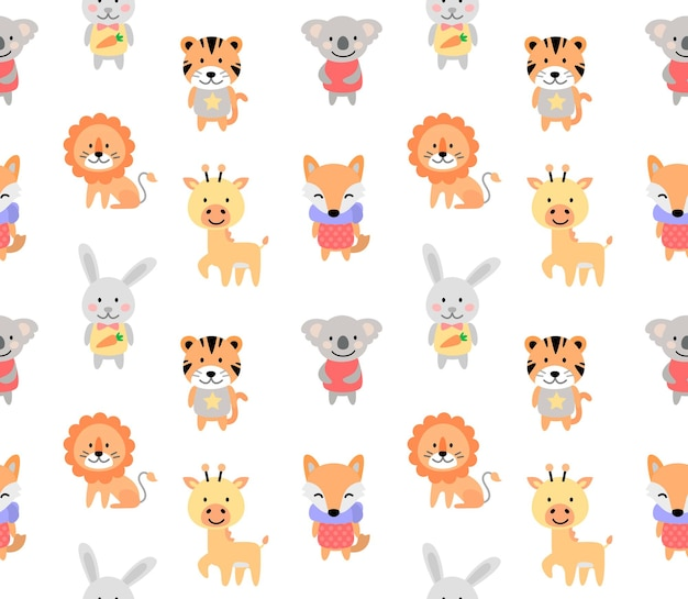 Cartoon cute animals for baby seamless pattern