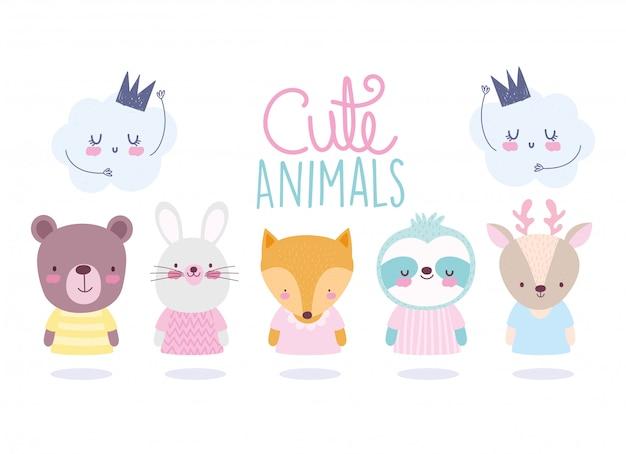 Cartoon cute animals characters bear rabbit fox raccoon deer and clouds