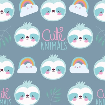 Cartoon cute animals characters raccoon rainbows clouds lettering