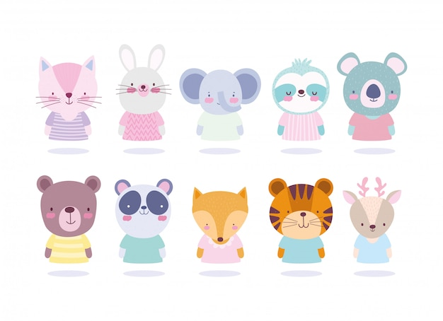 Cartoon cute animals different characters portrait icons