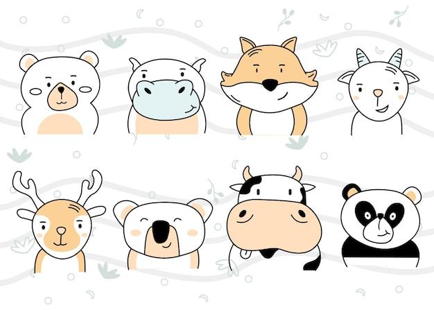 Мультяшные милые животные для детской карты или фона