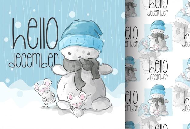Мультяшный милые животные счастливы на снежной бесшовные