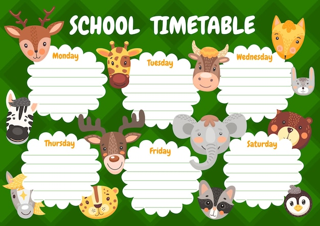 Cartoon cute animals, kids education timetable schedule. school planner, weekly time table with kawaii funny zebra, giraffe and bear with moose, horse and leopard, horse, cow and elephant