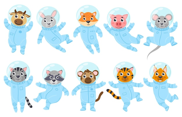 만화 귀여운 동물, 돼지, 쥐, 고양이 우주비행사들은 우주복을 입고 있습니다. 우주 비행사 너구리, 소, 원숭이 벡터 일러스트 레이 션 세트. 은하계 동물 우주비행사