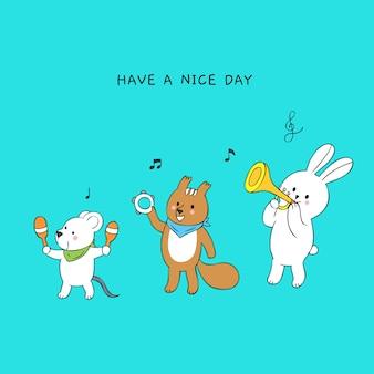 Мультфильм милые животные, играя музыку вектор.