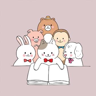 Cartoon cute animals reading book vector.