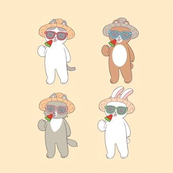 Cartoon cute animals in summer vector.