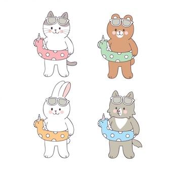 Cartoon cute animals swimming in summer vector.