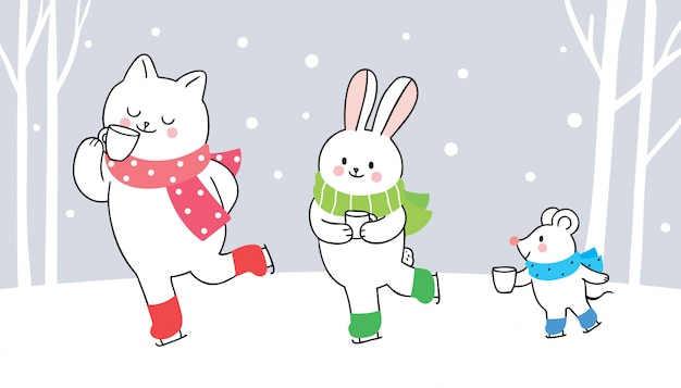 Cartoon cute animals winter, cat and rabbit and mouse  drink coffee.