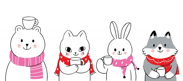 Cartoon cute animals winter drink coffee