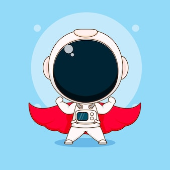 Cartoon of cute astronaut with red cloak