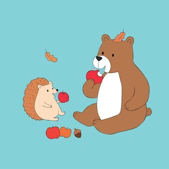 漫画かわいい秋のクマとハリネズミは、リンゴのベクトルを食べる。