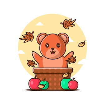 Cartoon cute autumn bear with apples
