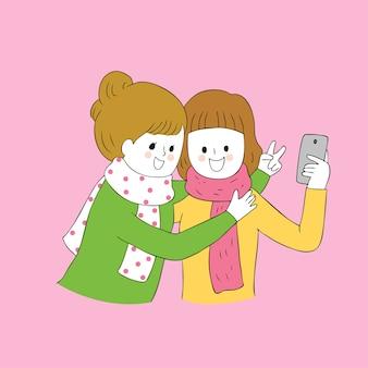 귀여운가 가장 친한 친구 selfie 함께 벡터 만화.