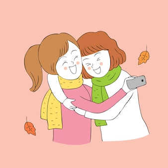 만화 귀여운가 가장 친한 친구 selfie 벡터.