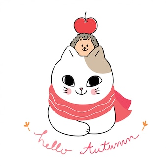 Мультфильм милый осень, кошка и еж и яблоко вектор.