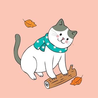Мультфильм мило осень кошка и лог вектор.