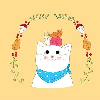 漫画かわいい秋の猫とカタツムリのベクトル。