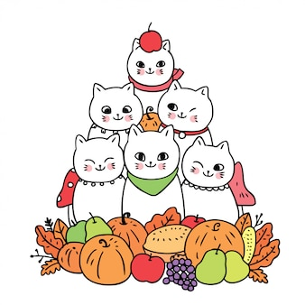 Cartoon cute autumn, cat and fruits vector.