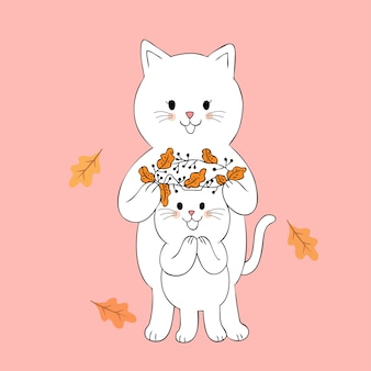 Cartoon cute autumn cats and flowers crown vector.