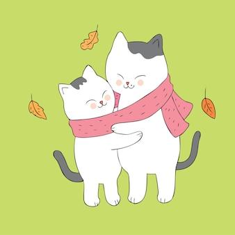 Cartoon cute autumn cats hugging vector.
