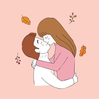 Cartoon cute autumn couple kissing vector.