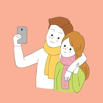 귀여운가 커플 selfie 함께 벡터 만화.