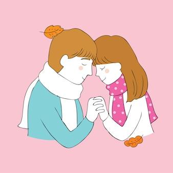 Cartoon cute autumn couple vector.