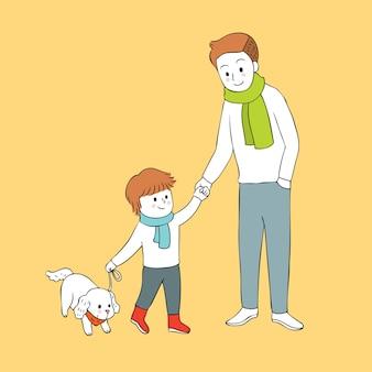 Мультфильм мило Осенний папа и сын и собака вектор.