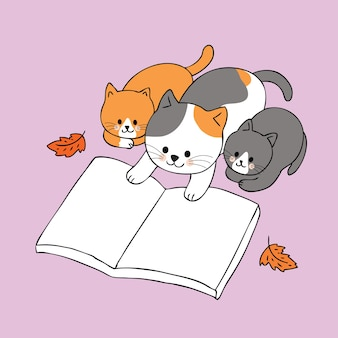 Cartoon cute autumn family cats reading book vector.