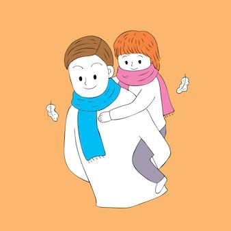 Мультфильм мило осень отец и дочь вектор.