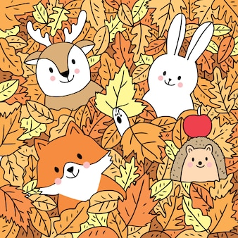 Cartoon cute autumn, fox and deer and rabbit and hedgehog in leave vector.