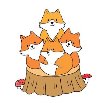 Cartoon cute autumn, foxes and hog on stump vector.