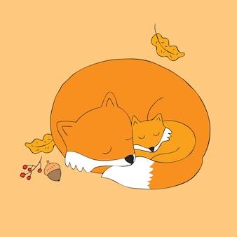 Мультфильм мило Осень лисы вектор.