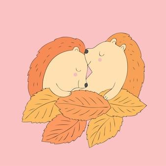 漫画かわいい秋のハリネズミ睡眠ベクトル。