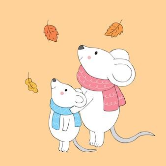 Cartoon cute autumn mice mom and baby vector.