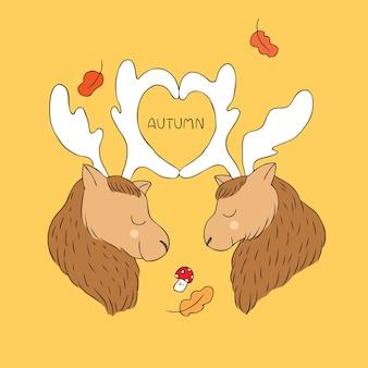 Cartoon cute autumn moose lover vector.