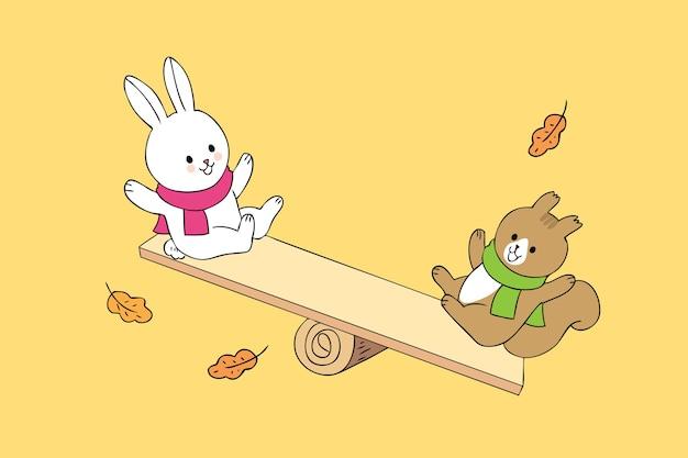 漫画かわいい秋のウサギとリスベクトルを再生する。