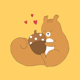 Cartoon cute autumn squirrel hug acorn vector.