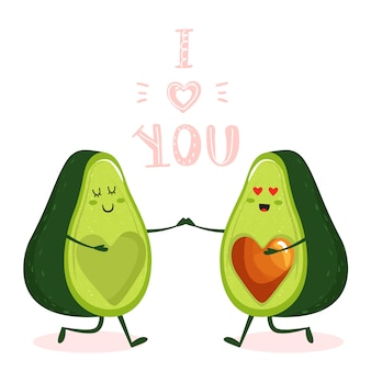 Cartoon cute avocado couple character.