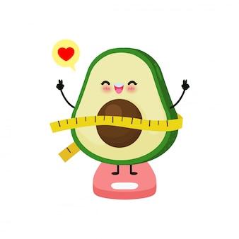 Вес потери милого авокадоа шаржа счастливый на веся весах, весы для измерять тучность, концепция с едой здоровой еды и тренировка. забавный фруктовый персонаж на белом фоне