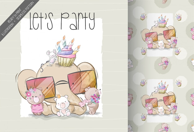 Cartoon cute baby animal birthday party seamless pattern
