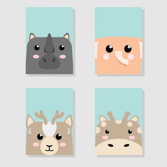 Cartoon cute baby animal icon set card