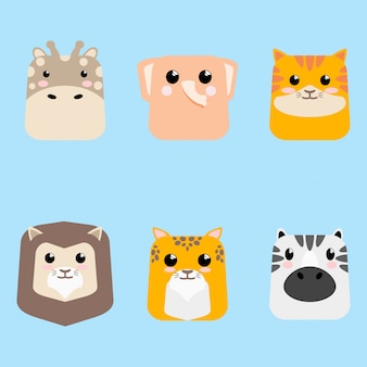 Cartoon cute baby animal icon set card