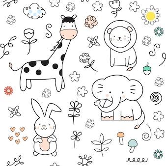Cartoon cute baby animal seamless pattern