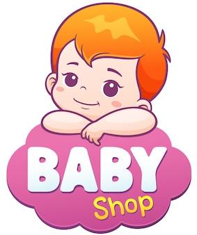 Cartoon cute baby. baby care logo concept