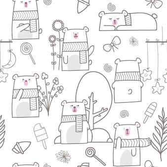 Cartoon cute baby bear seamless pattern