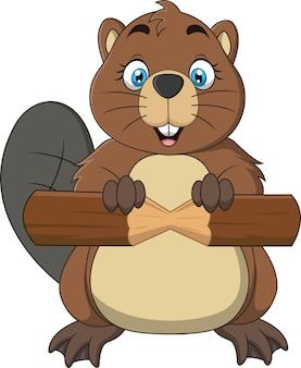 Cartoon cute baby beaver holding piece of wood