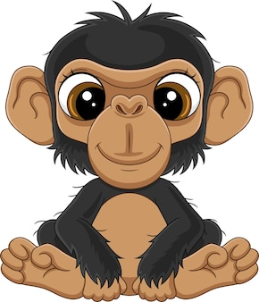 만화 귀여운 아기 침팬지 앉아