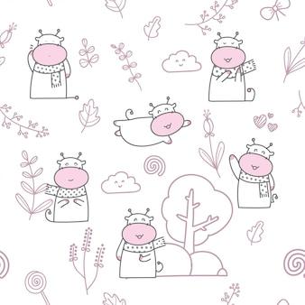 Cartoon cute baby cow seamless pattern